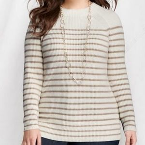 Lands End Cotton Shaker Tunic Sweater LARGE Ivory